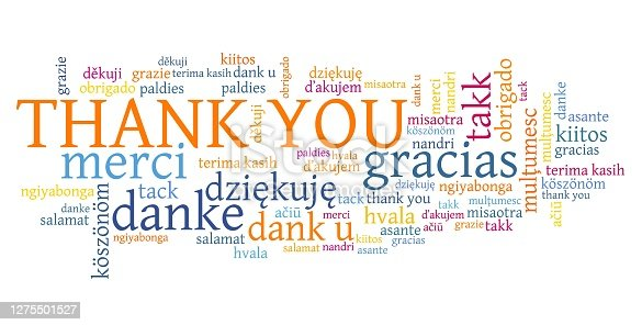 Thank you words graphics. International thank you sign in many languages including English, French, German, Dutch and Polish.