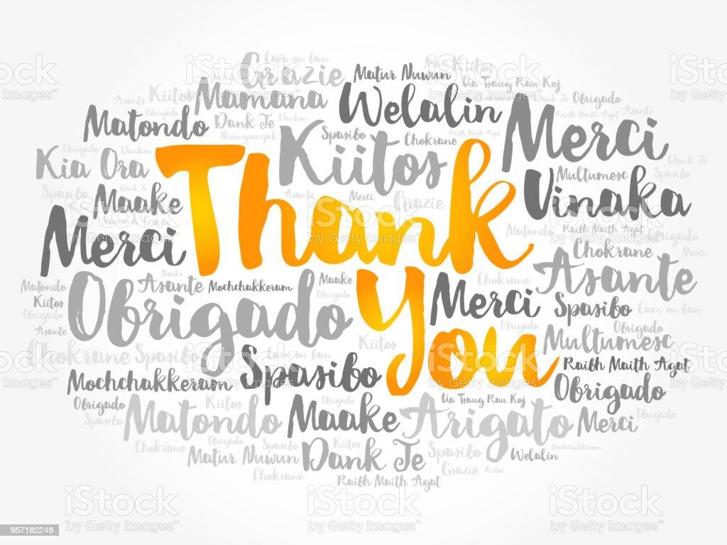 Farklı dillerde teşekkür ederim kelime bulutu - Royalty-free Baskı sanatı Stock Illustration