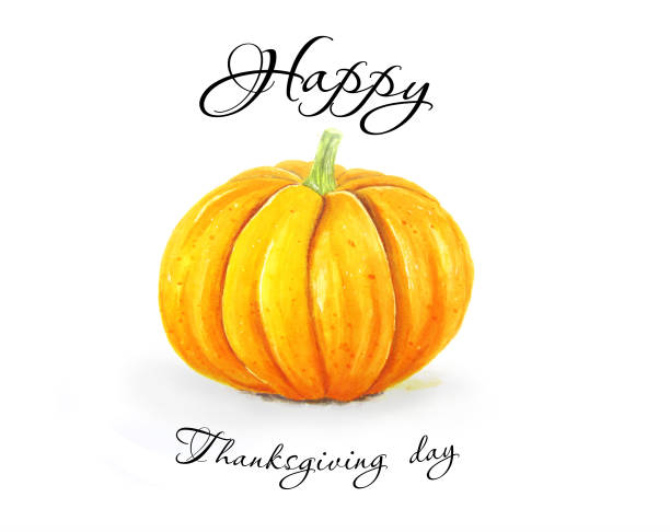 Thanksgiving background with single hand sketched pumpkin vector art illustration