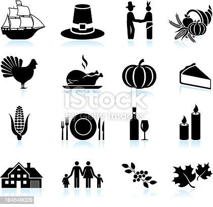 Thanksgiving holiday celebration black & white icon set