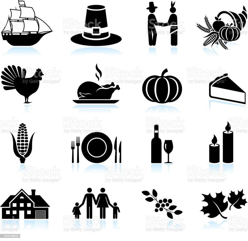 Thanksgiving holiday celebration black & white vector icon set vector art illustration