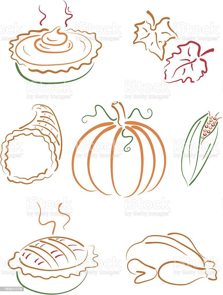 Thanksgiving Lineart royalty-free stock vector art
