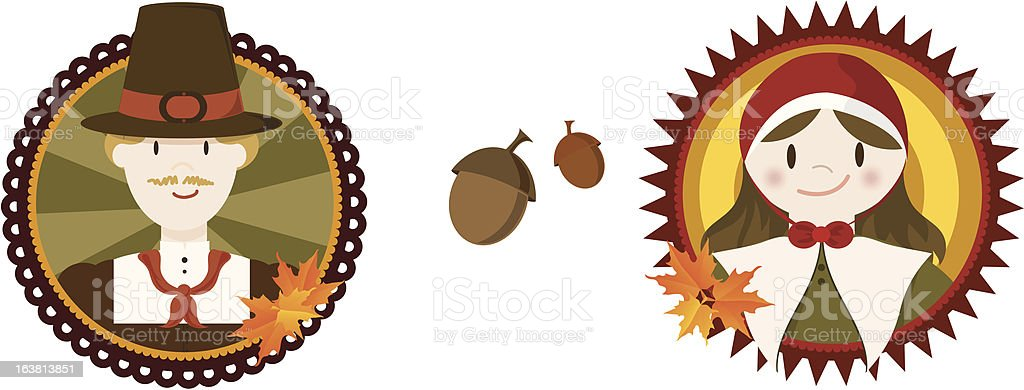 Thanksgiving Pilgrims royalty-free stock vector art