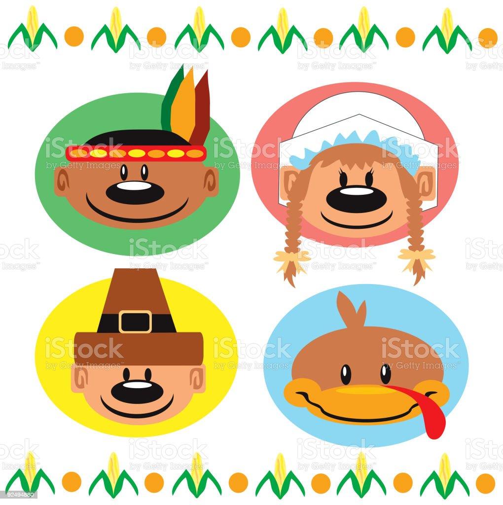 Thanksgiving Pop Headz Lizenzfreies thanksgiving pop headz stock vektor art und mehr bilder von farbbild