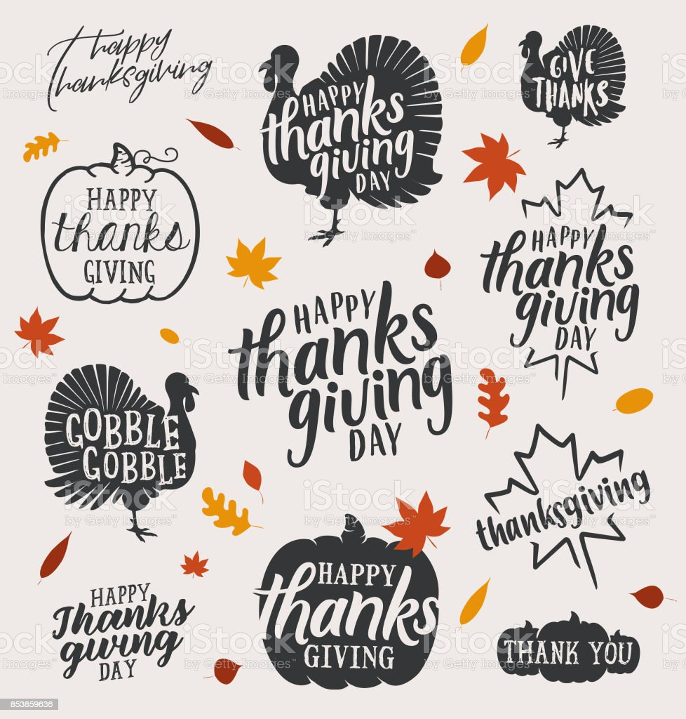 Thanksgiving Vector Calligraphic Illustrations in Vintage style vector art illustration