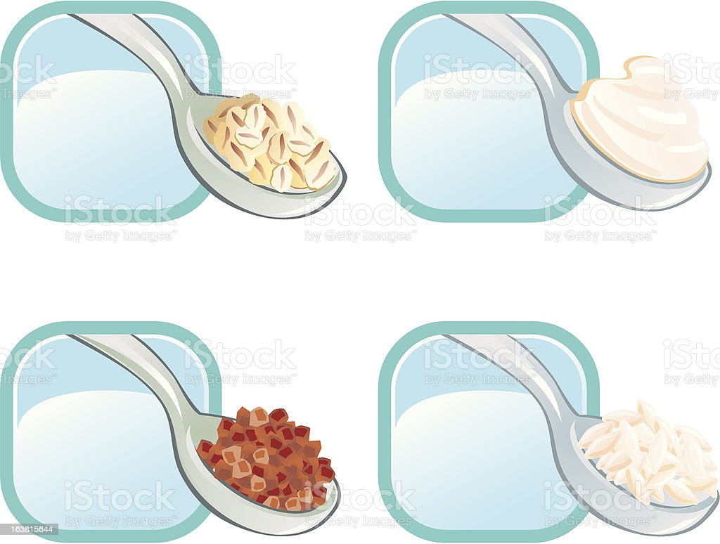 The 4 spoon with porridges royalty-free stock vector art