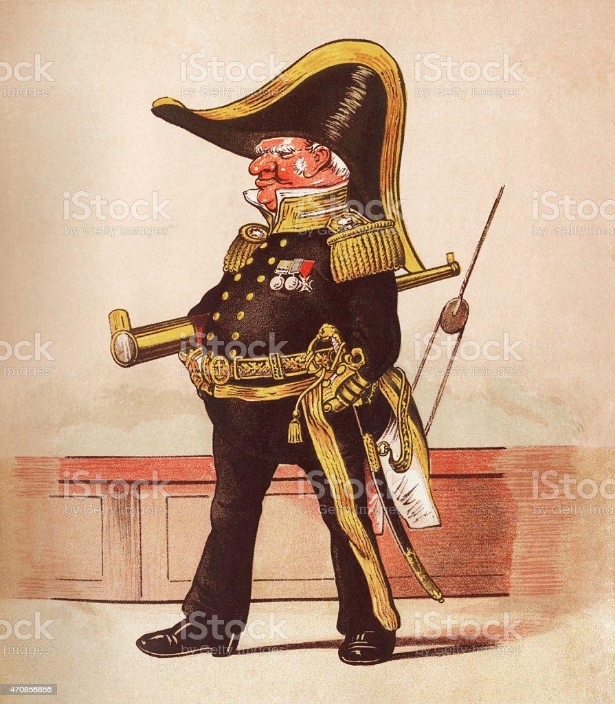 The Admiral - Victorian print vector art illustration