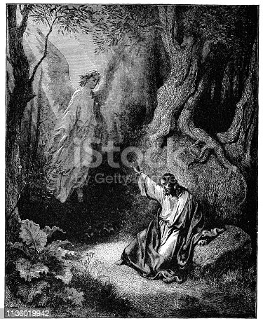 The Agony in the Garden by Gustave Dore. Vintage etching circa mid 19th century.