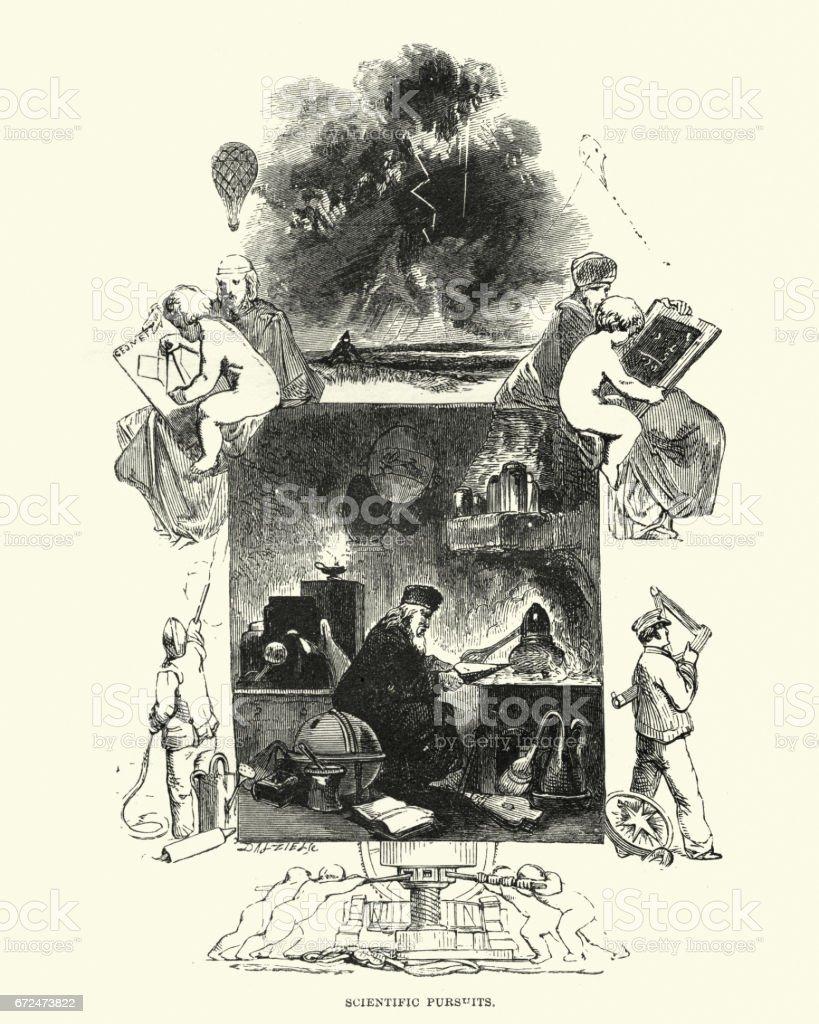 The Alchemist at work vector art illustration