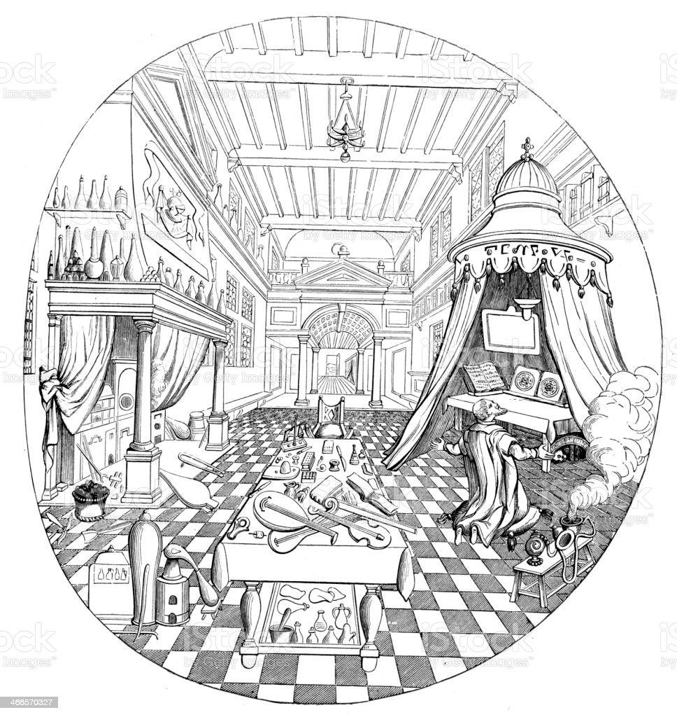 The Alchemist vector art illustration