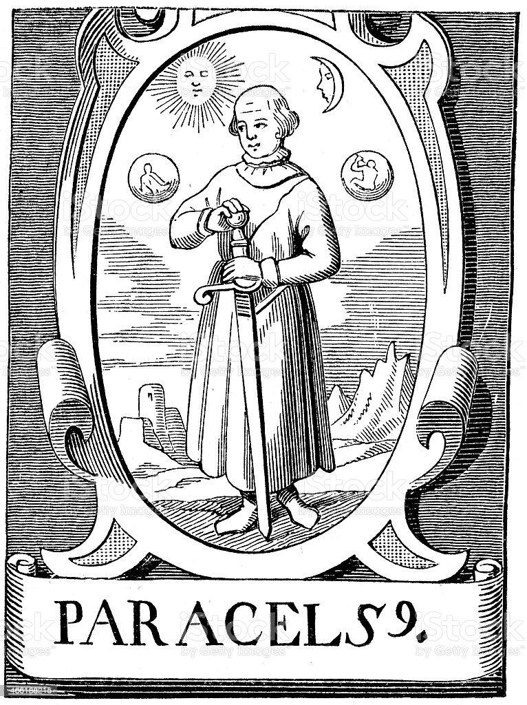 The Alchemist Paracelsus vector art illustration