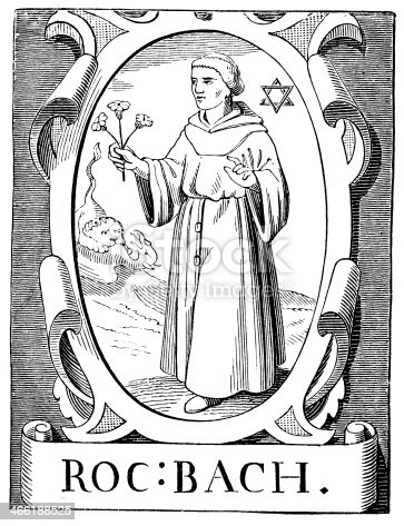 Portrait of Roger Bacon 1214 to 1294, was an English philosopher and Franciscan friar who placed considerable emphasis on the study of nature through empirical methods.