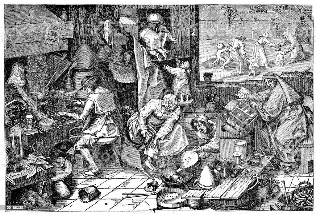 The Alchemist's Laboratory vector art illustration
