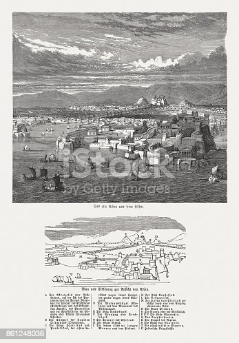 The ancient Athens (with explanation of the buildings). Wood engraving, published in 1886.
