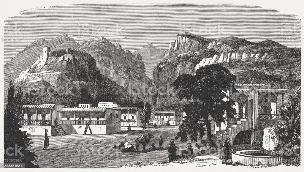L'ancien colosse, reconstruction visuelle, gravure sur bois, publié en 1886 - Illustration vectorielle