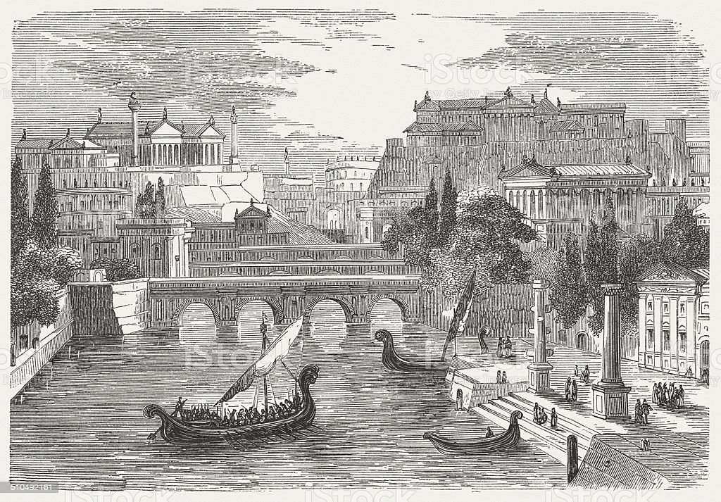 The ancient Rome, visual reconstruction, wood engraving, published in 1864 vector art illustration