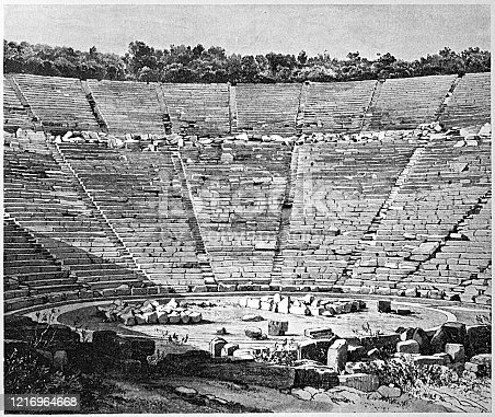 Illustration of the Ancient Theater of Epidaurus is regarded as the best preserved ancient theater in Greece in terms of its perfect acoustics and fine structure. It was constructed in the late 4th century BC and it was finalized in two stages