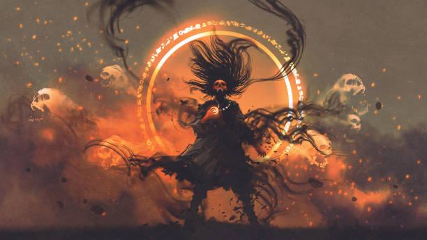 the angry sorcerer of evil spirits vector art illustration