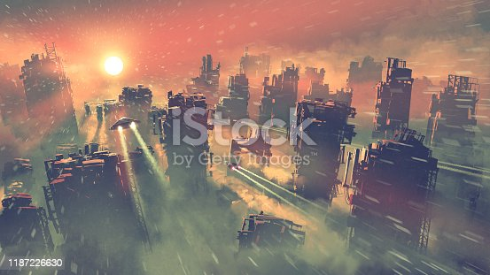 post-apocalypse scenery showing of spaceships flying above abandoned skyscrapers, digital art style, illustration painting