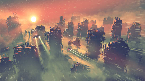 the apocalypse city with ruined skyscrapers vector art illustration