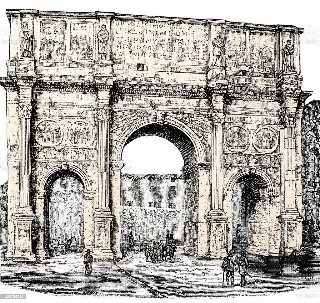 The arch of Constantine, Rome, Italy vector art illustration