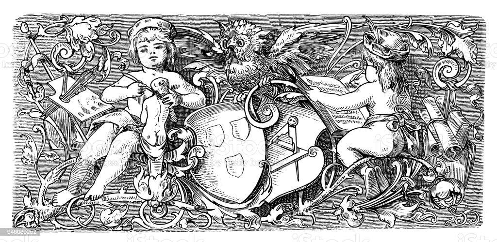 The Arts - Symbol - 19th century vector art illustration