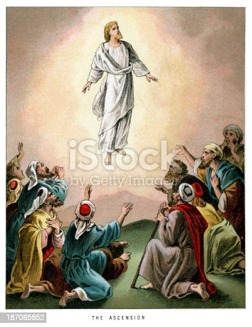 Vintage colour lithograph from 1882 of The Ascension of Jesus