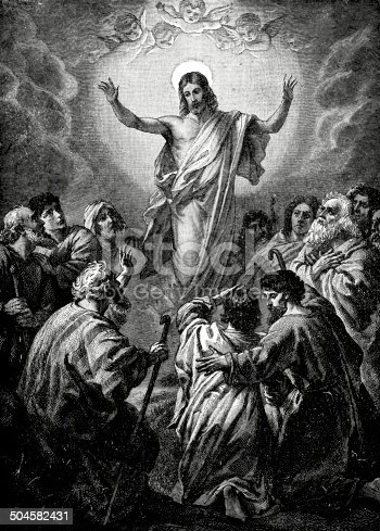 Engraving from 1892 showing the Ascension of Jesus from the Christian Bible.