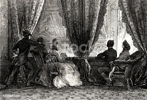 Vintage engraving depicts the assassination of President Abraham Lincoln. Lincoln was shot in the head by John Wilkes Booth, a famous actor and Confederate sympathizer, on April 14, 1865 at Ford's Theatre in Washington, D.C.