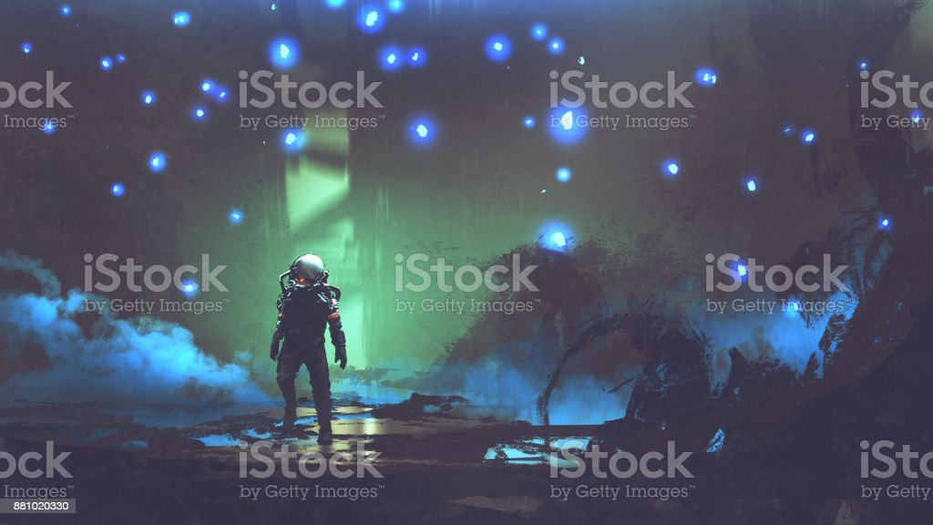 the astronaut in an alien forest vector art illustration
