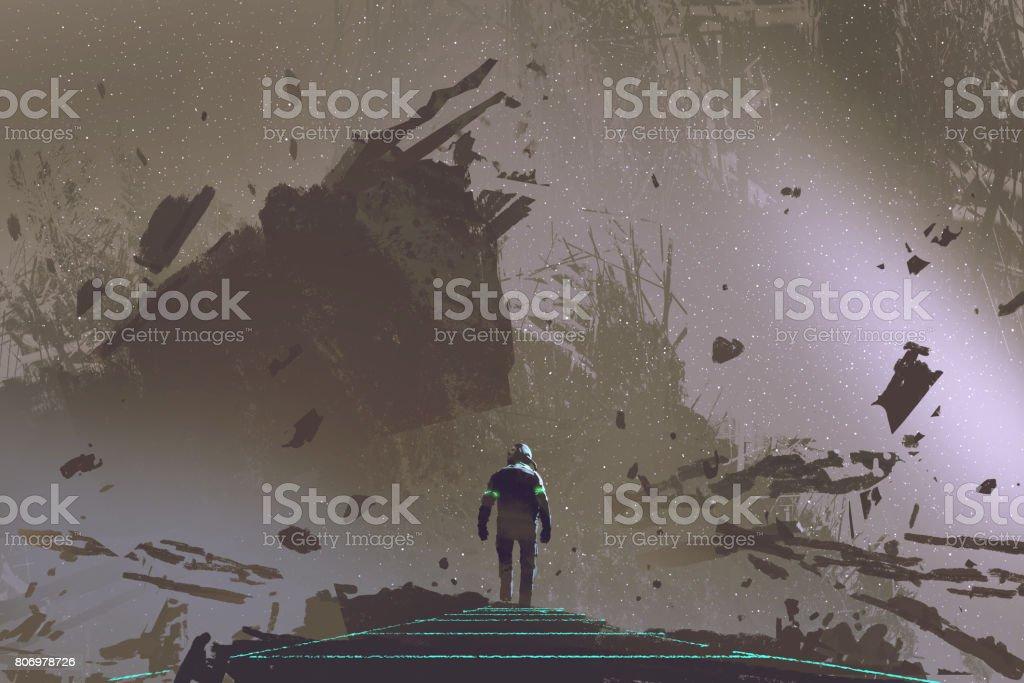 the astronaut walking on light path in dead earth vector art illustration