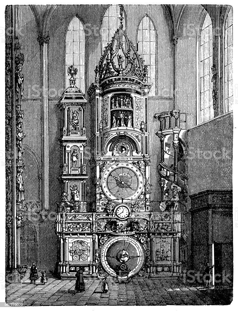 L'horloge astronomique de la cathédrale de Strasbourg ou la cathédrale de notre Dame de Strasbourg - Illustration vectorielle