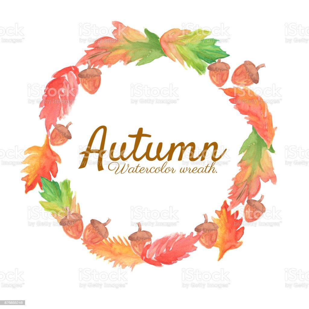 Sonbahar çelenk Sulu Boya Küçük Resimlerle Yaprak Ve çelenk Meşe