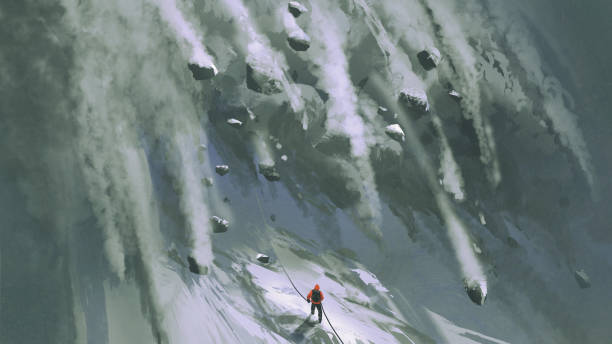 the avalanche for mountain climber scene of the climber man and  snow rocks falling rapidly down a mountainside, digital art style, illustration painting avalanche stock illustrations