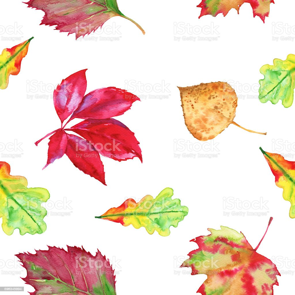 The background of autumn leaves. Seamless pattern. Watercolor illustration. royalty-free the background of autumn leaves seamless pattern watercolor illustration stock vector art & more images of abstract