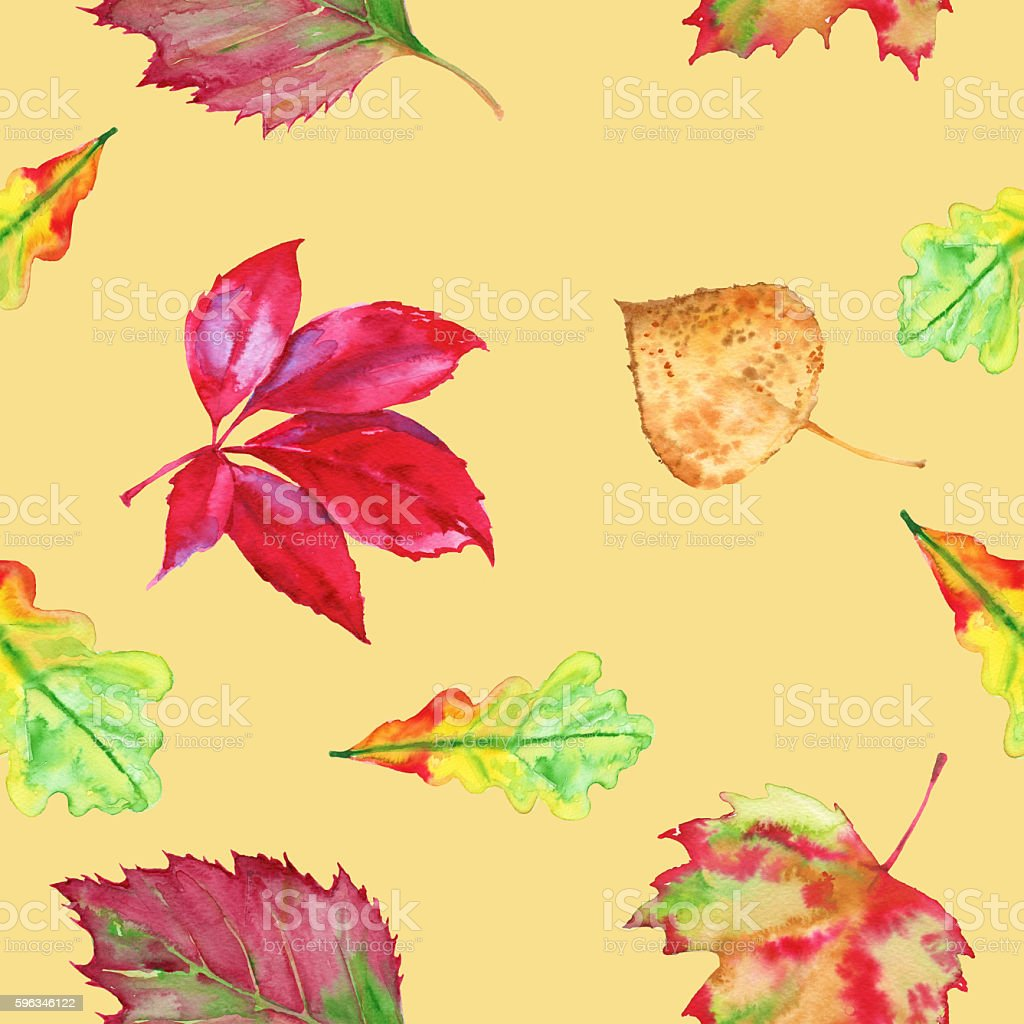 The background of autumn leaves. Seamless pattern. Watercolor illustration. royalty-free the background of autumn leaves seamless pattern watercolor illustration stock vector art & more images of art