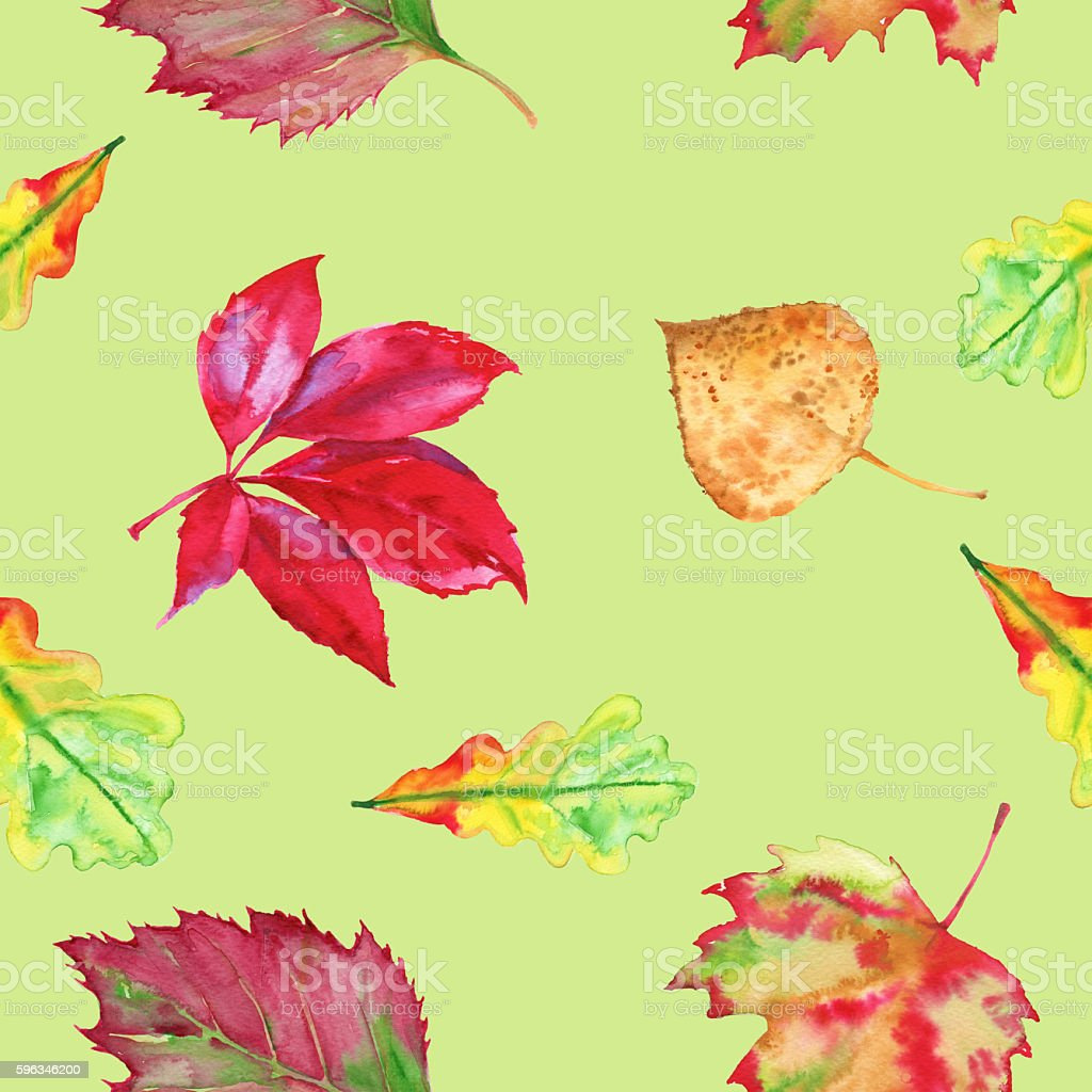 The background of autumn leaves. Seamless pattern. Watercolor illustration. royalty-free the background of autumn leaves seamless pattern watercolor illustration stock vector art & more images of autumn