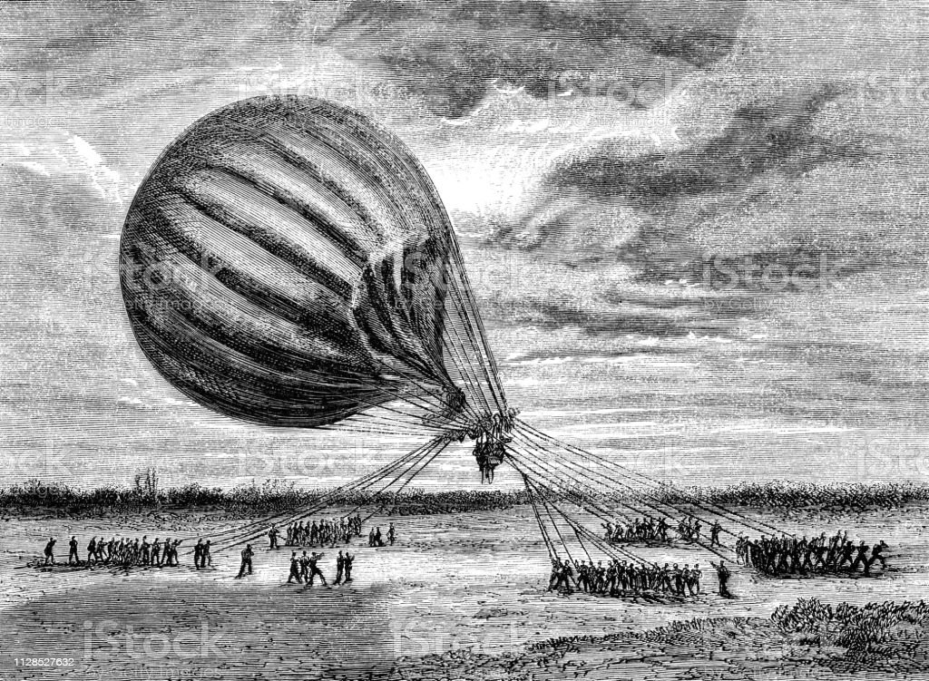 The Balloon Le Jean Bart Landing at an Outpost during the Siege of Paris - 19th Century vector art illustration