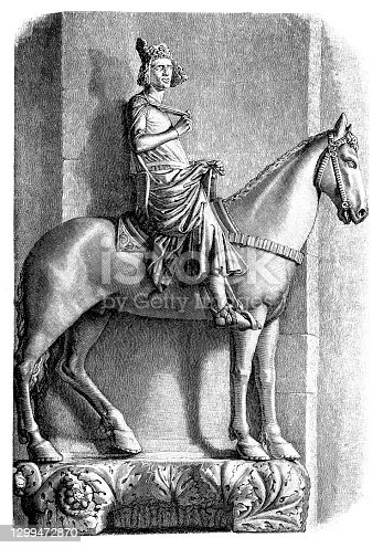 Illustration of The Bamberg Horseman (Der Bamberger Reiter) - famous sculpture of 13 century, Germany