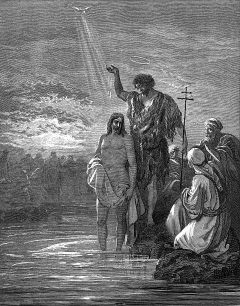 the baptism of jesus - old man praying picture pictures stock illustrations, clip art, cartoons, & icons