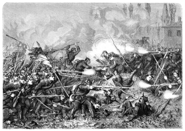 The Battle of Amiens, also known as the Third Battle of Picardy, was the opening phase of the Allied offensive which began on 8 August 1918, later known as the Hundred Days Offensive, that ultimately led to the end of the First World War Illustration of the Battle of Amiens, also known as the Third Battle of Picardy, was the opening phase of the Allied offensive which began on 8 August 1918, later known as the Hundred Days Offensive, that ultimately led to the end of the First World War 20th century stock illustrations