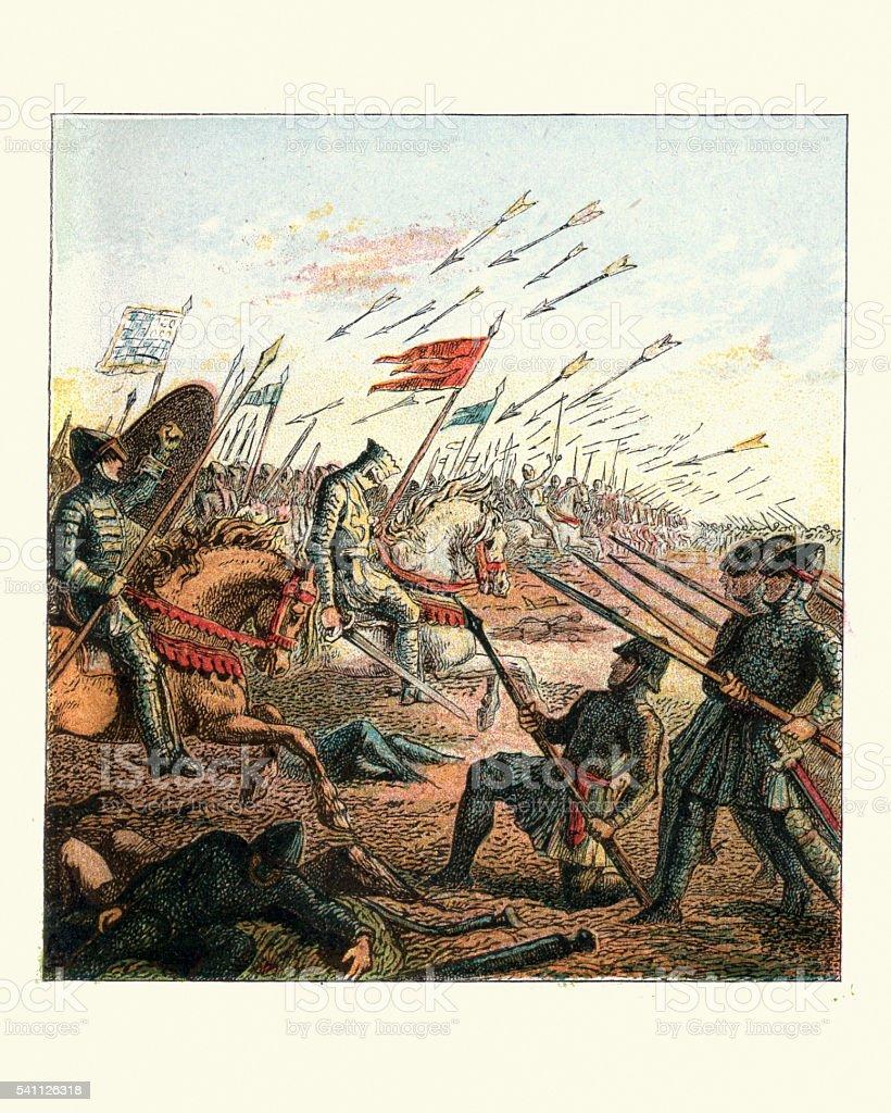The Battle of Hastings, 1066 vector art illustration