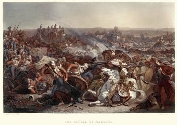 stockillustraties, clipart, cartoons en iconen met de slag bij miani (of slag bij meeanee), 1843 - oost
