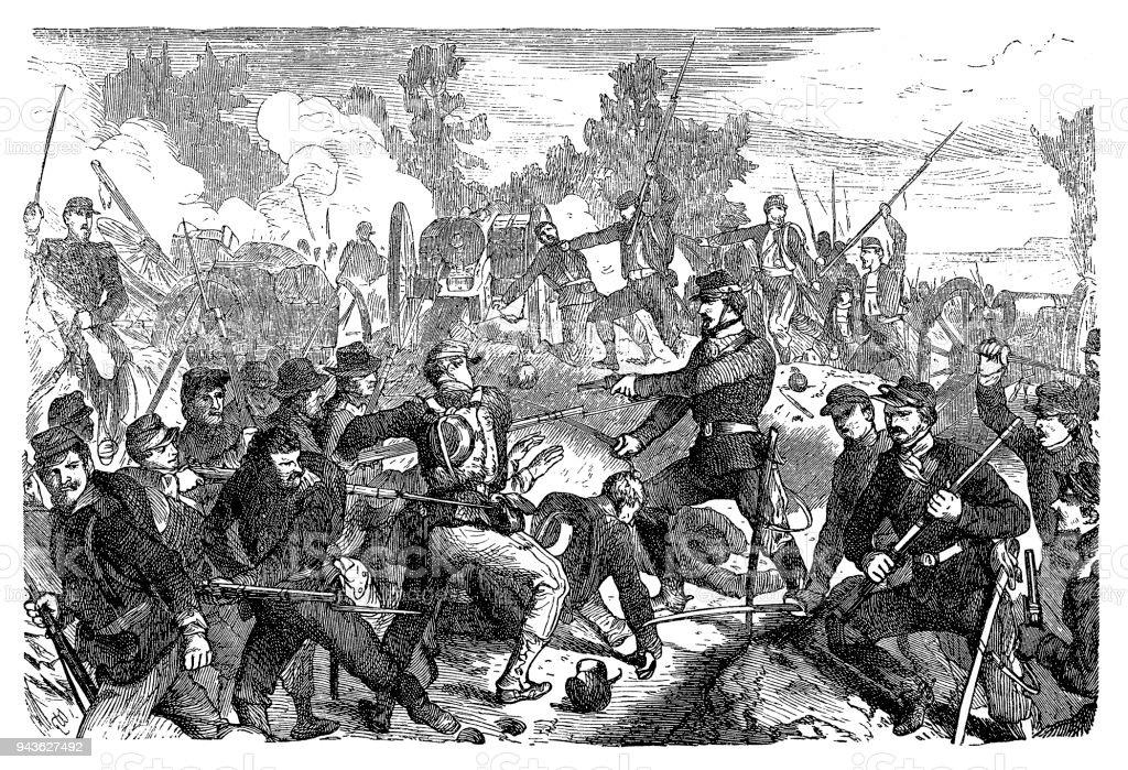 The Battle of Spotsylvania Court House, sometimes more simply referred to as the Battle of Spotsylvania vector art illustration