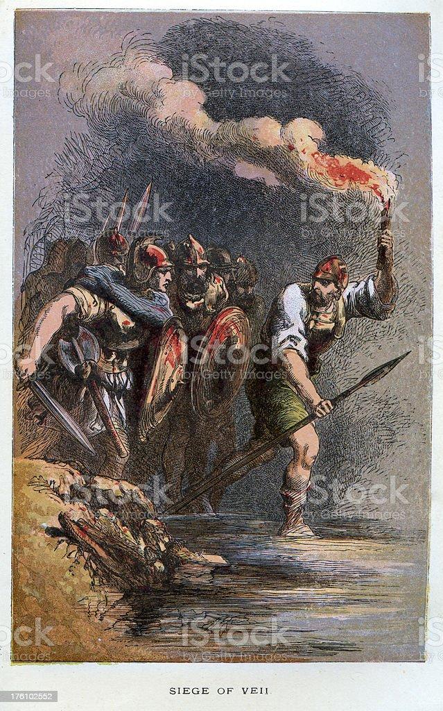 The Battle of Veii Ancent Rome vector art illustration