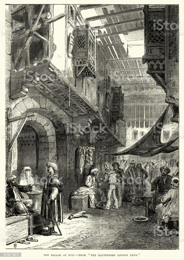 Bazar em Suez, Egito, século XIX - ilustração de arte em vetor