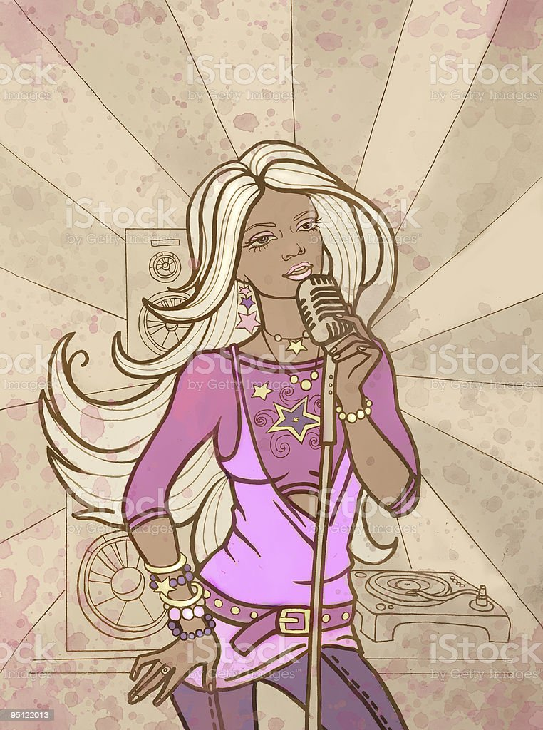 The beautiful girl sings royalty-free the beautiful girl sings stock vector art & more images of abstract
