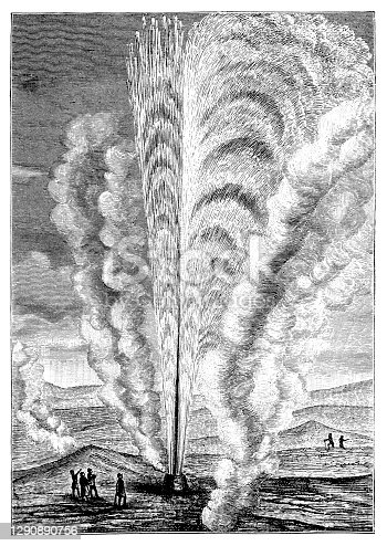 Illustration of The Beehive Geyser in action
