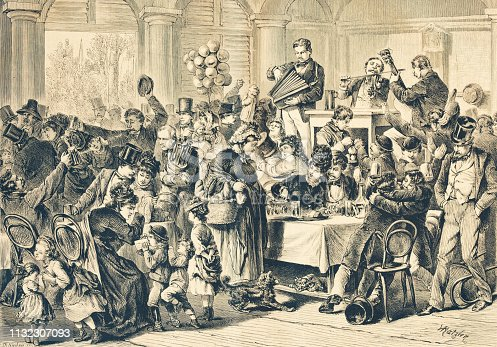 history, vintage, illustration, retro style,  19th Century Style, old, party,