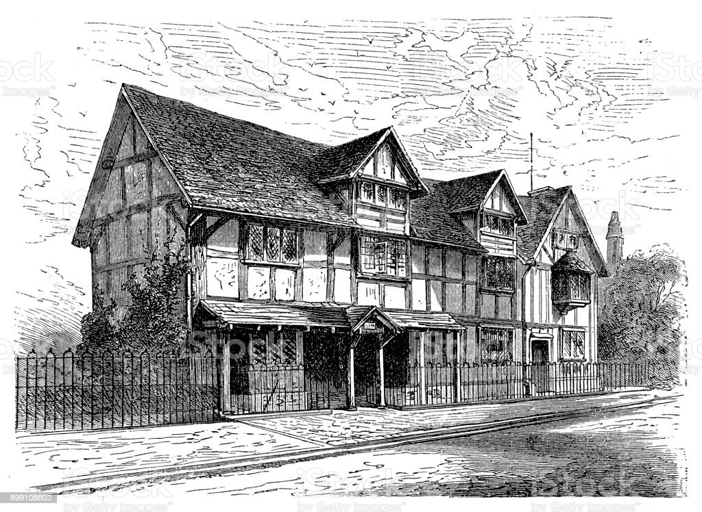 The birthplace of William Shakespeare (1564 - 1616), Stratford vector art illustration